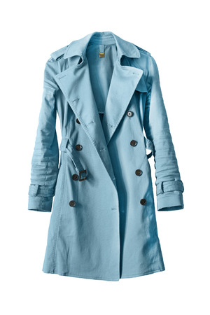Elegant blue trenchcoat on white background Archivio Fotografico
