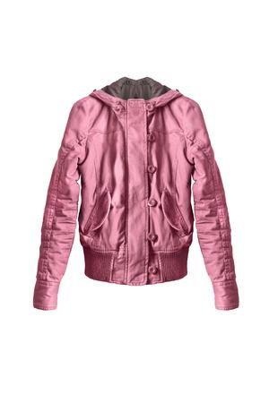 anorak: Pink cotton sport jacket on white background