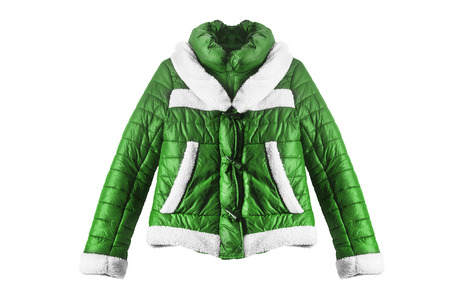 anorak: Green down jacket on white background
