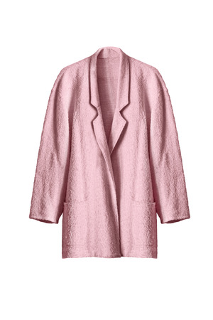 topcoat: Elegant wool pink topcoat isolated over white