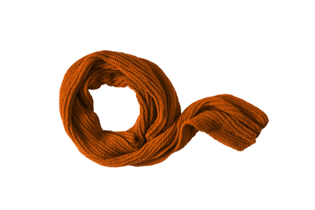 terracotta: Wool terracotta knitted scarf isolated over white Stock Photo