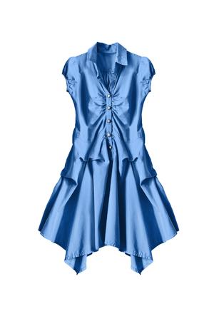 sleeveless dress: Silk blue sleeveless dress on white background Stock Photo