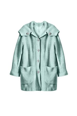 oversize: Wool blue oversize coat on white background