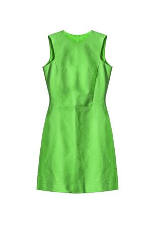 cocktail dress: Beautiful green sleeveless dress on white background Stock Photo