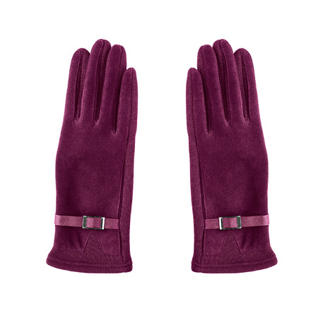 maroon leather: Pair of pink suede gloves on white background