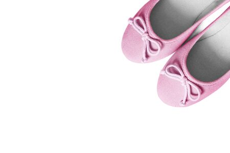 flat shoes: Pair of pink textile flat shoes on white background