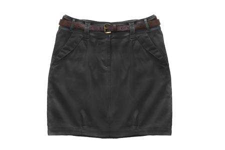 mini falda: Mini falda negro sobre fondo blanco