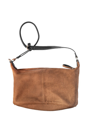 suede belt: Leather brown shoulder bag on white background