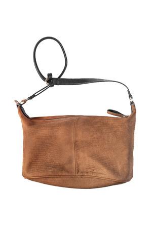 shoulder bag: Leather brown shoulder bag on white background