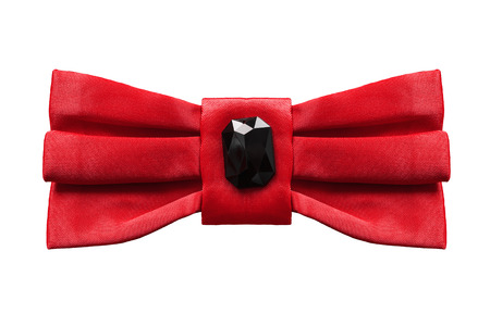 black onyx: Red silk bow with black onyx isolated over white Stock Photo