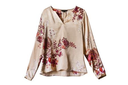 blusa: Blusa de seda ornamental étnico aislado más de blanco