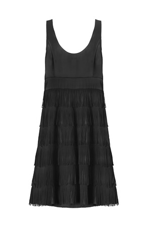 fringe: Black silk cocktail dress with fringe on white background Stock Photo