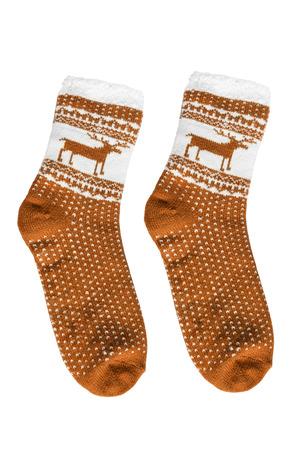 calcetas: calcetines amarillos de lana de punto aislado m�s de blanco