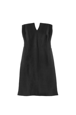 strapless: Black strapless cocktail dress on white background Stock Photo