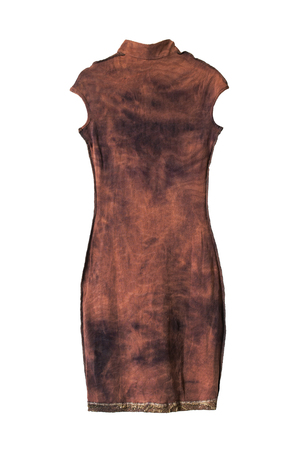 sleeveless dress: Suede brown sleeveless dress isolated over white Stock Photo