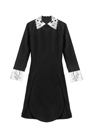 cuffs: Elegant black dress with white collar and cuffs isolated over white