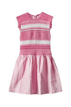 girlish: Pink cotton girlish dress on white background
