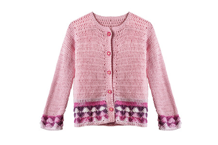 Pink knitted girlish cardigan on white background Stock Photo