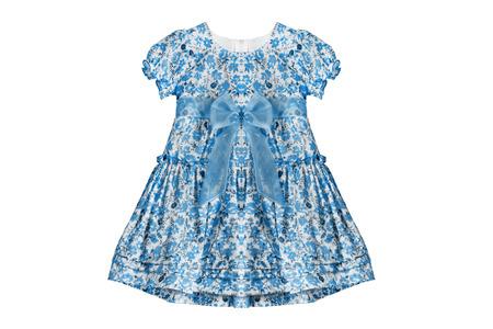 girlish: Blue girlish dress isolated over white