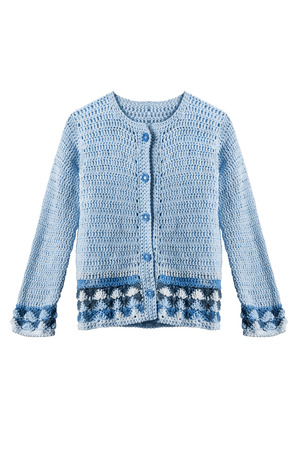 crocheted: Blue crocheted jacket isolated over white