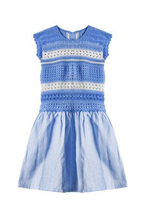 girlish: Blue cotton girlish dress isolated over white