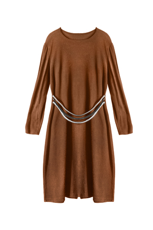 formal dressing: Brown wool dress isolated over white