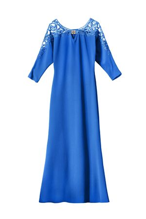 formal dressing: Blue evening dress with lacy shoulders isolated over white