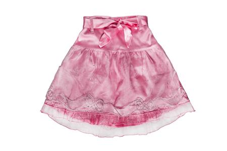 girlish: Pink chiffon girlish skirt on white background