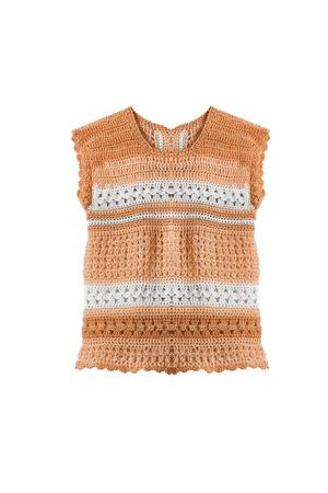 sleeveless top: Orange knitted sleeveless top on white background