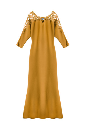 formal dressing: Silk yellow evening dress on white background