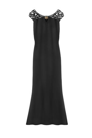 maxi: Elegant black maxi dress isolated over white
