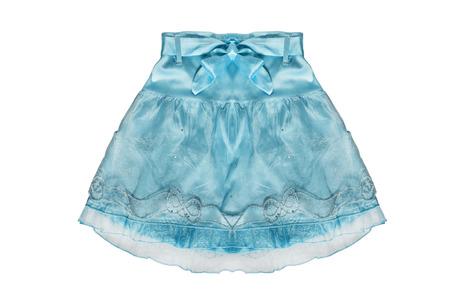 girlish: Blue girlish skirt with silk bow isolated over white Stock Photo