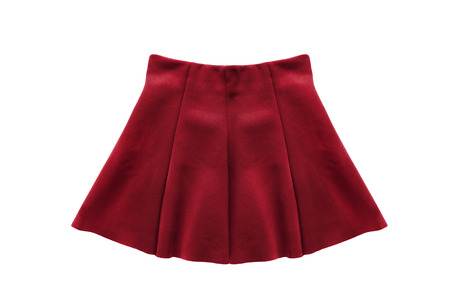 Red uniform skirt isolated over white