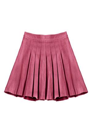 白で分離されたプリーツ コットン ピンク スカート
