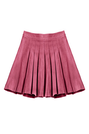 formal dressing: Pleated cotton pink skirt isolated over white