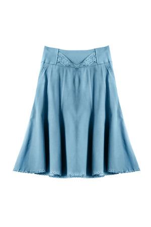 midi: Silk blue midi skirt isolated over white