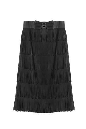 falda: falda de seda negro con flecos aislado más de blanco