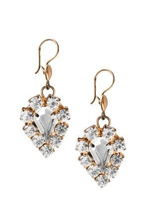 diamond background: Vintage golden diamond earrings on white background Stock Photo
