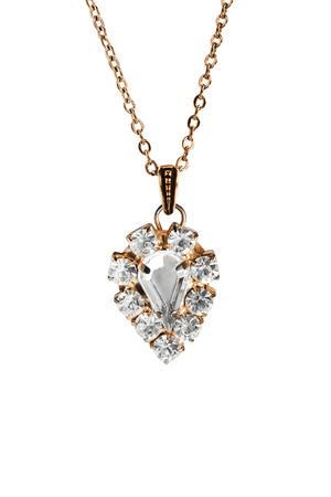 白で分離されたチェーンのビンテージ ダイヤモンド ペンダント 写真素材
