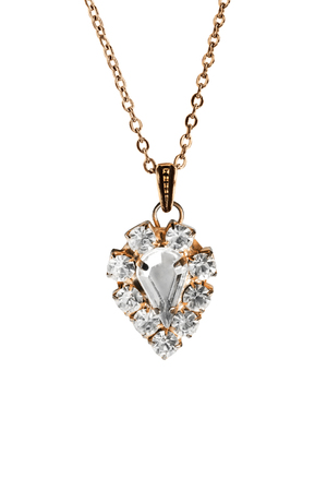 Vintage diamond pendant on a chain isolated over white Banque d'images