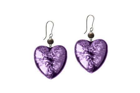 crystal heart: Purple crystal heart earrings on white background Stock Photo