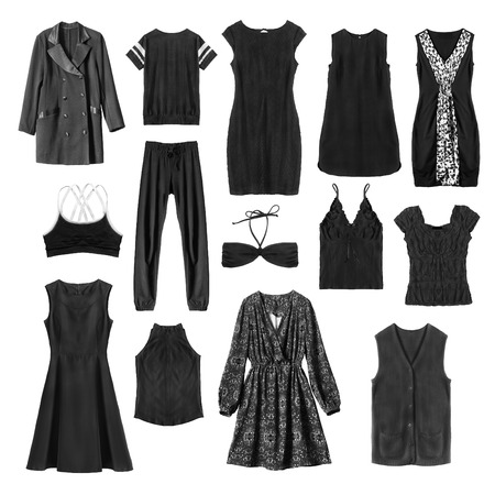 formal dressing: Set of black female clothes on white background