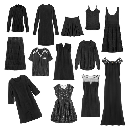 formal dressing: Set of black female clothes isolated over white