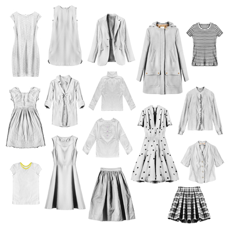 formal dressing: Set of white female clothes on white background