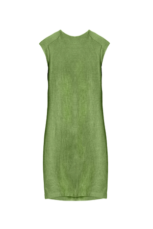 formal dressing: Elegant green sleeveless dress isolated over white