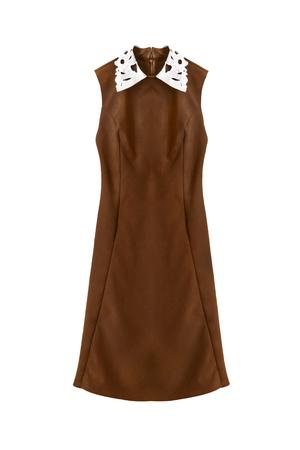 sleeveless dress: Brown sleeveless dress with white collar isolated over white Stock Photo