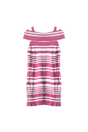 tunic: Pink striped knitted tunic isolated over white Stock Photo
