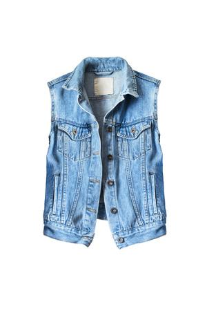 denim fabric: Blue denim vest on white background Stock Photo