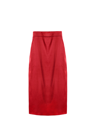 formal dressing: Red silk pencil skirt on white background