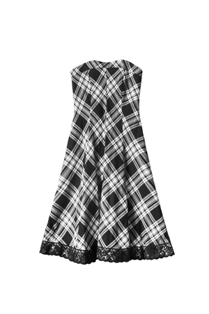 strapless: Black and white tartan strapless dress isolated over white Stock Photo